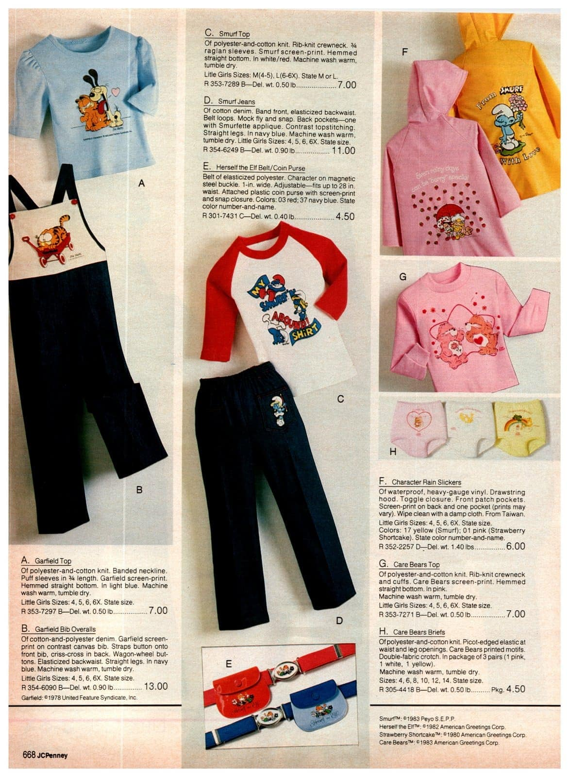 Garfield, Smurf, Herself the Elf, Strawberry Shortcake, Care Bears and other character clothes for little girls