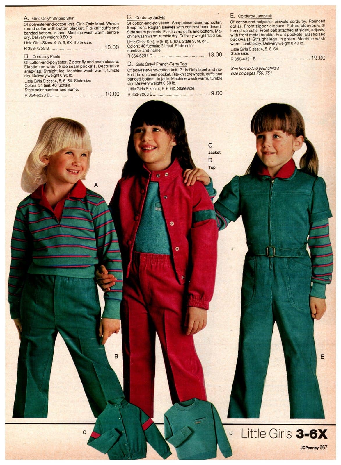 Girls Only clothing - striped shirts, corduroy pants, corduroy jackets, French-terry tops and corduroy jumpsuits