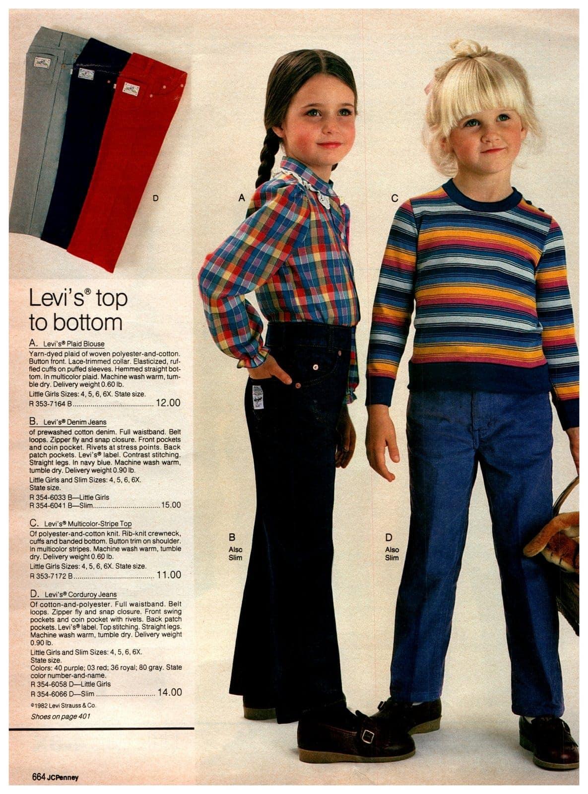 Vintage Levi's clothing for little kids - plaid blouses, denim jeans, striped tops - plus corduroy jeans