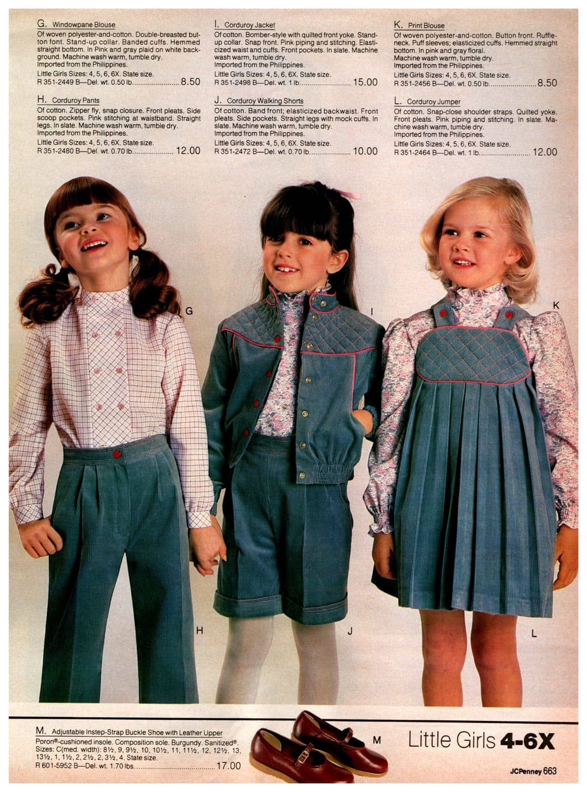 Windowpane blouses, print blouses, and corduroy pants, shorts, jackets and jumpers