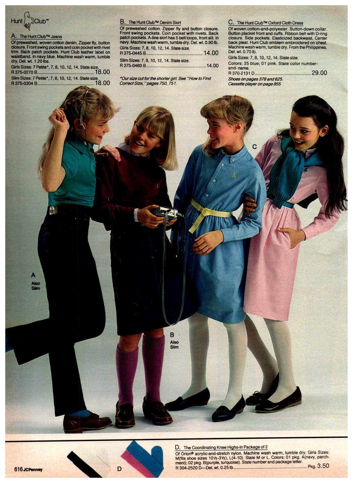 Hunt Club jeans, denim skirts and Oxford cloth dresses in blue and pink