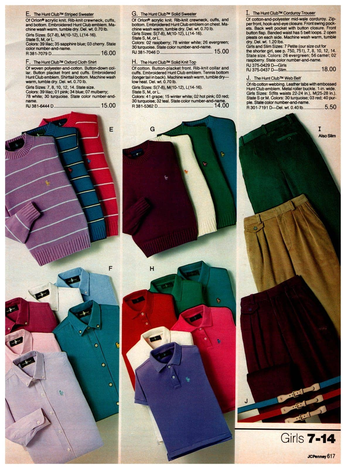 Striped sweaters, Hunt Club Oxford cloth shirts, knit tops, corduroy trousers and web belts