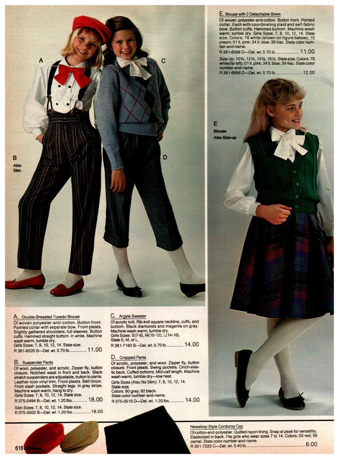 Double-breasted tuxedo blouses, suspender pants, argyle sweaters, cropped pants and blouses with detachable bows