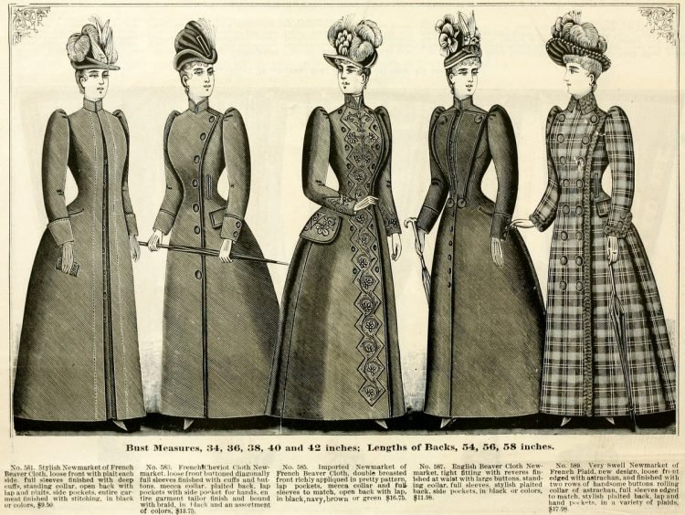 antique women's clothing from 1890