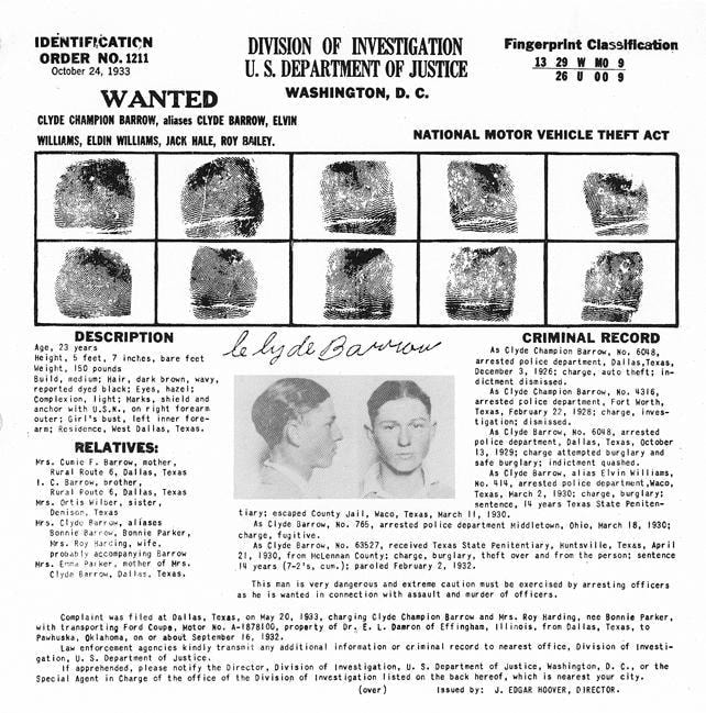 Clyde Barrow fingerprints and criminal record from 1933