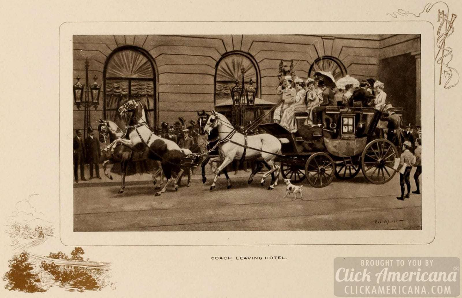 Coach leaving the Waldorf-Astoria Hotel - 1903