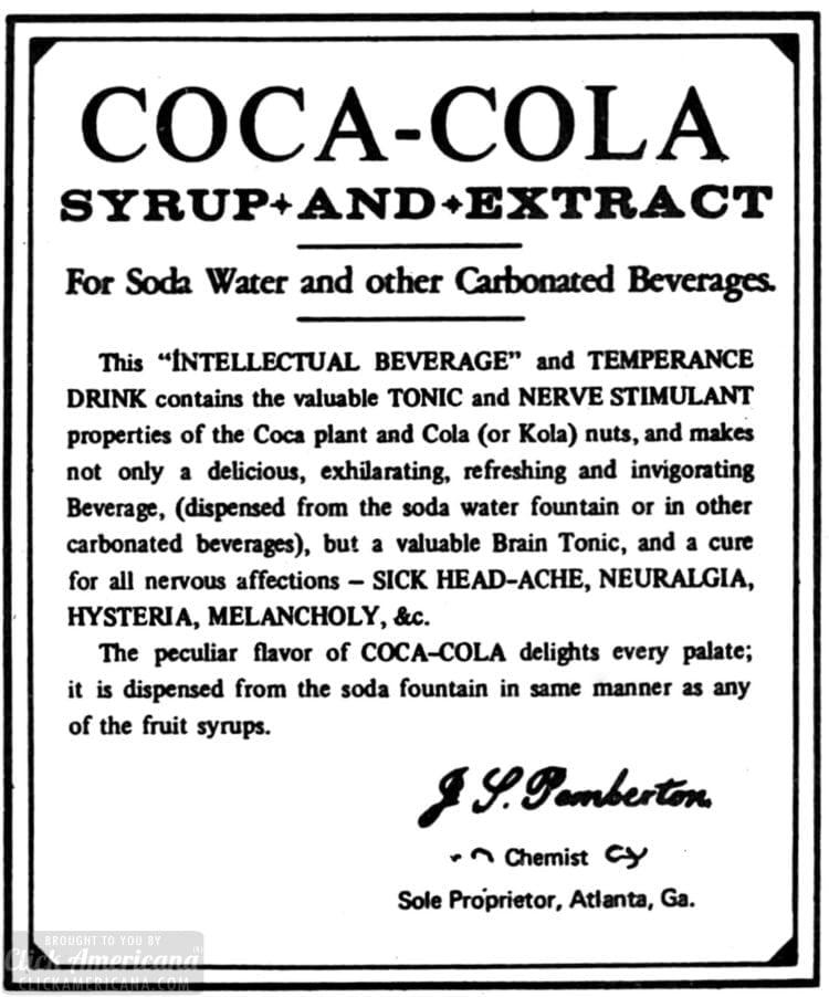 Coca Cola original recipe - with cocaine 1885