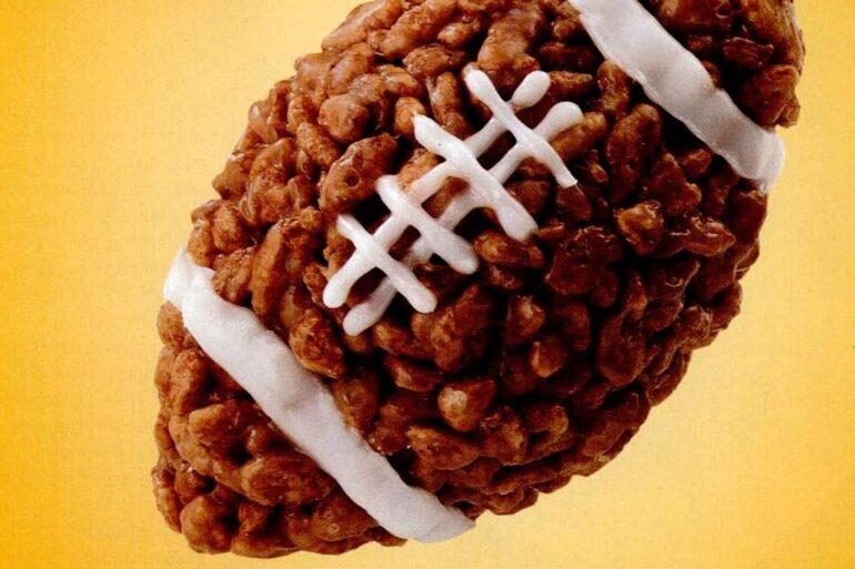 Rice Krispie treat football shapes