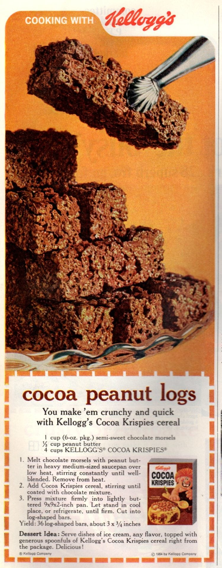 Cocoa peanut logs with Cocoa Krispies cereal (1968)