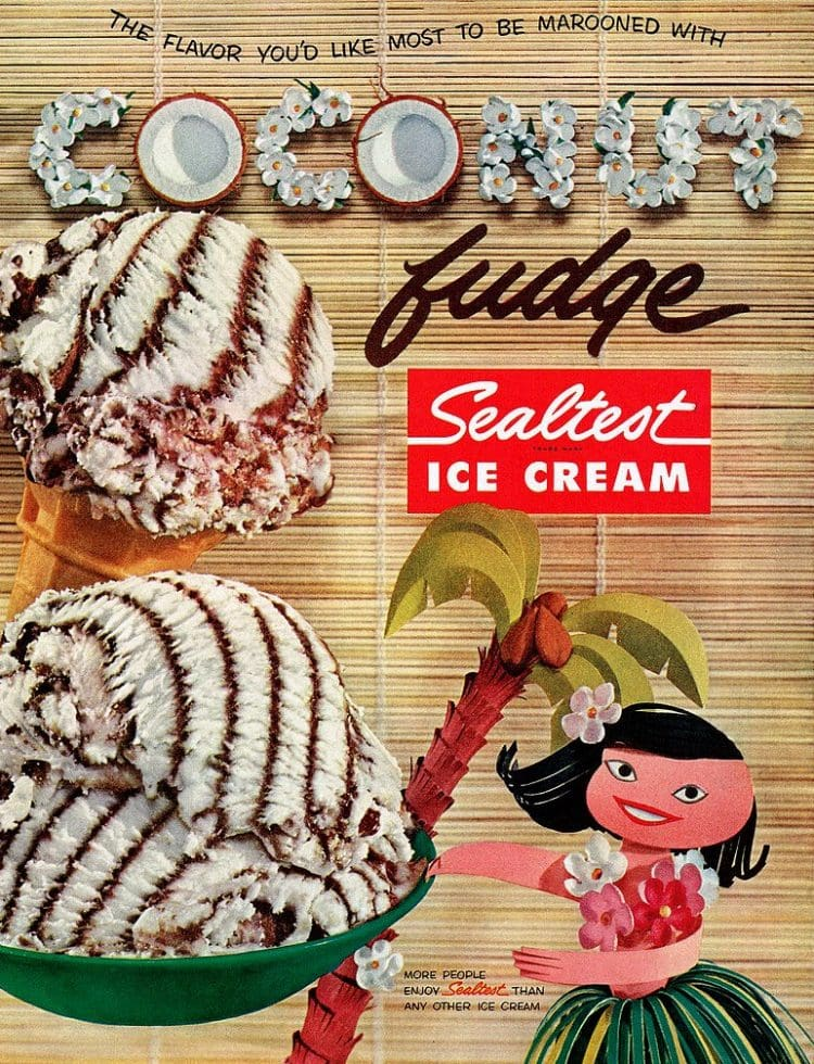 Coconut fudge ice cream - Sealtest 1957