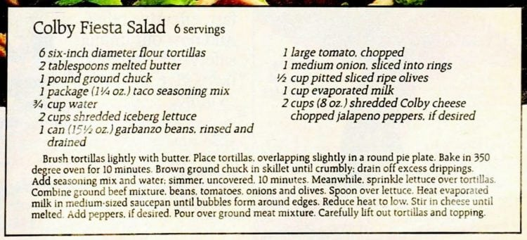 Colby fiesta salad recipe (1987)