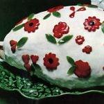 Cold glazed ham with pimento flowers retro recipe (1965)