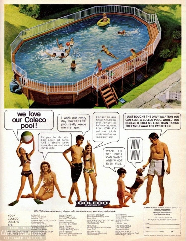 A Coleco pool for the backyard: Above-ground swimming pools (1970)