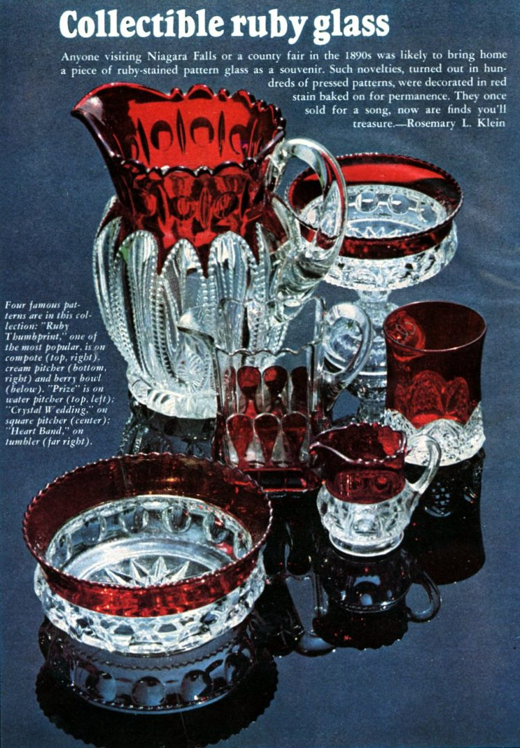 Collectible vintage ruby glass from the 1890s