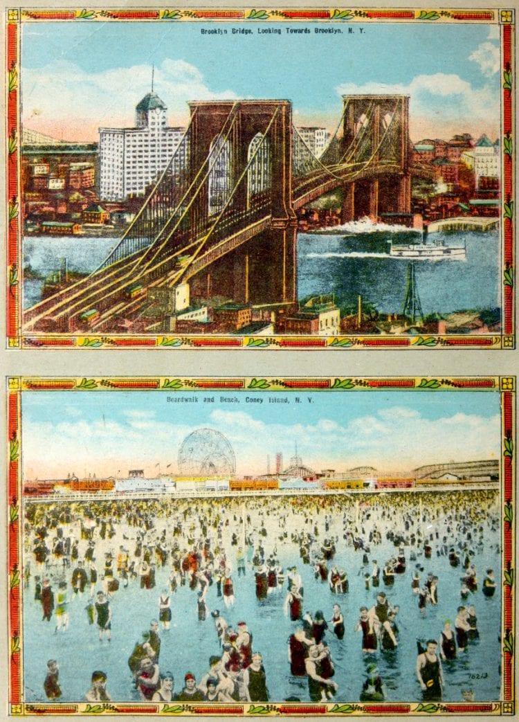 Color postcards of vintage Coney Island