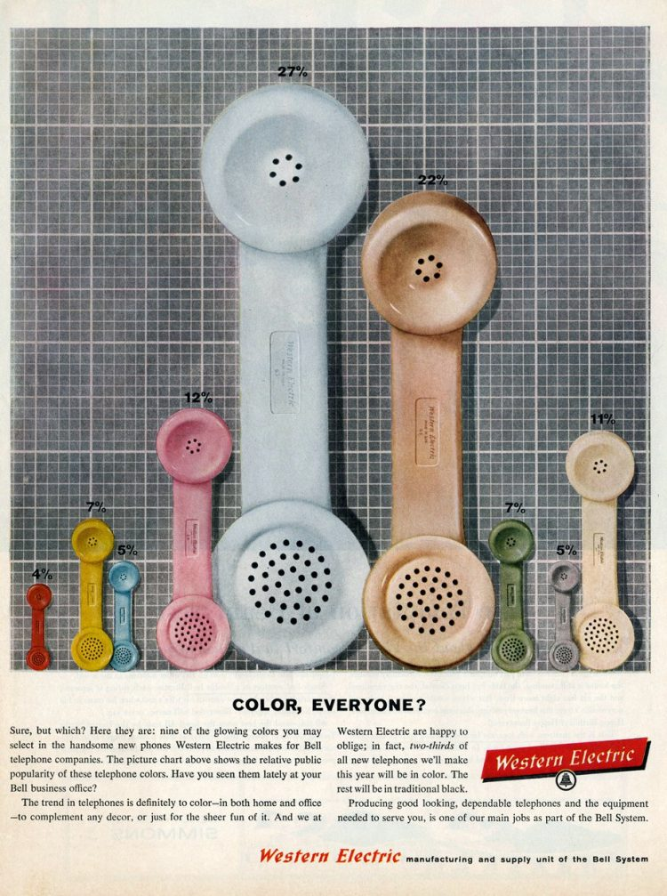 Color telephone receivers from 1960