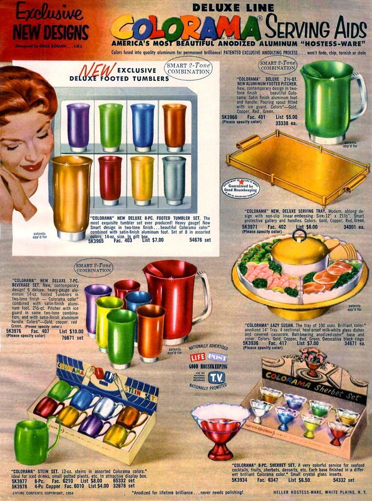 Colorama aluminum tumblers - cups and serving ware from 1955