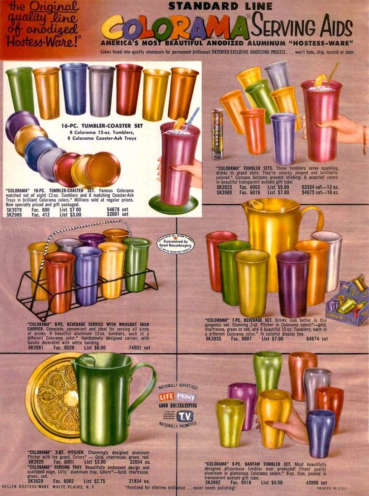Colorama aluminum tumblers - cups for the home from 1955