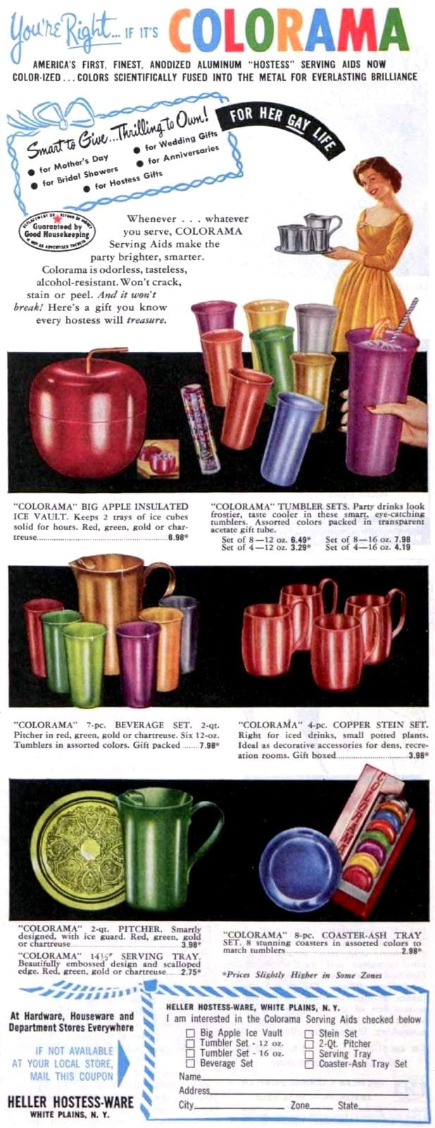 Colorama tumblers and cups from 1953
