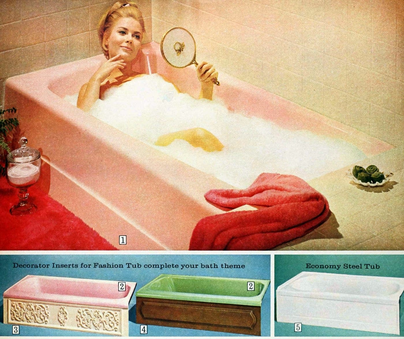 Colored bathtubs from 1965