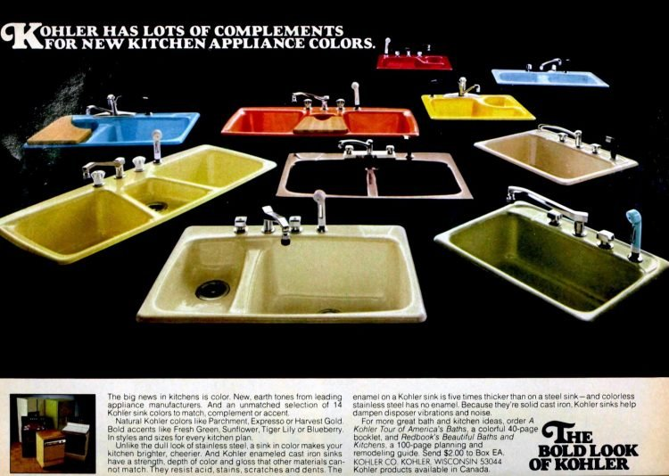 See colorful vintage kitchen sinks from 1977