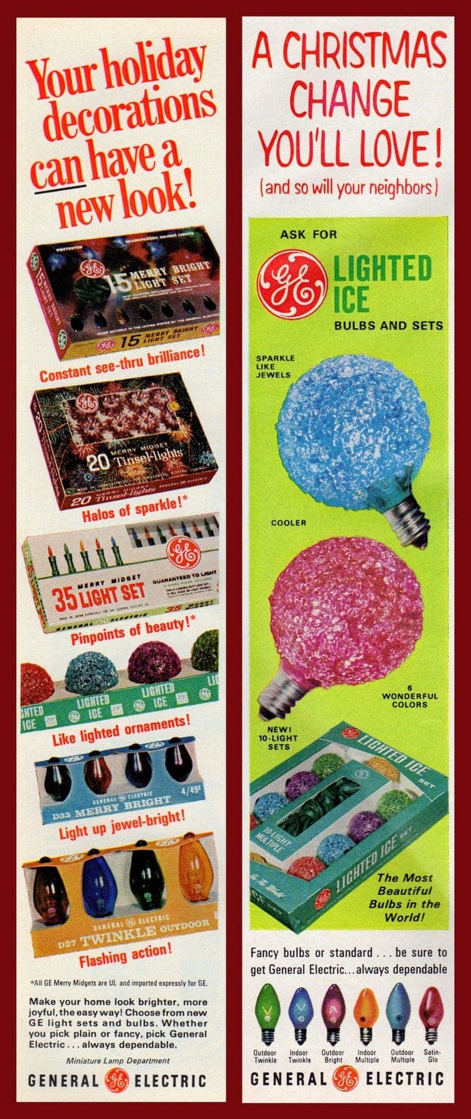 Colorful Christmas lights from GE 1966 and 1968