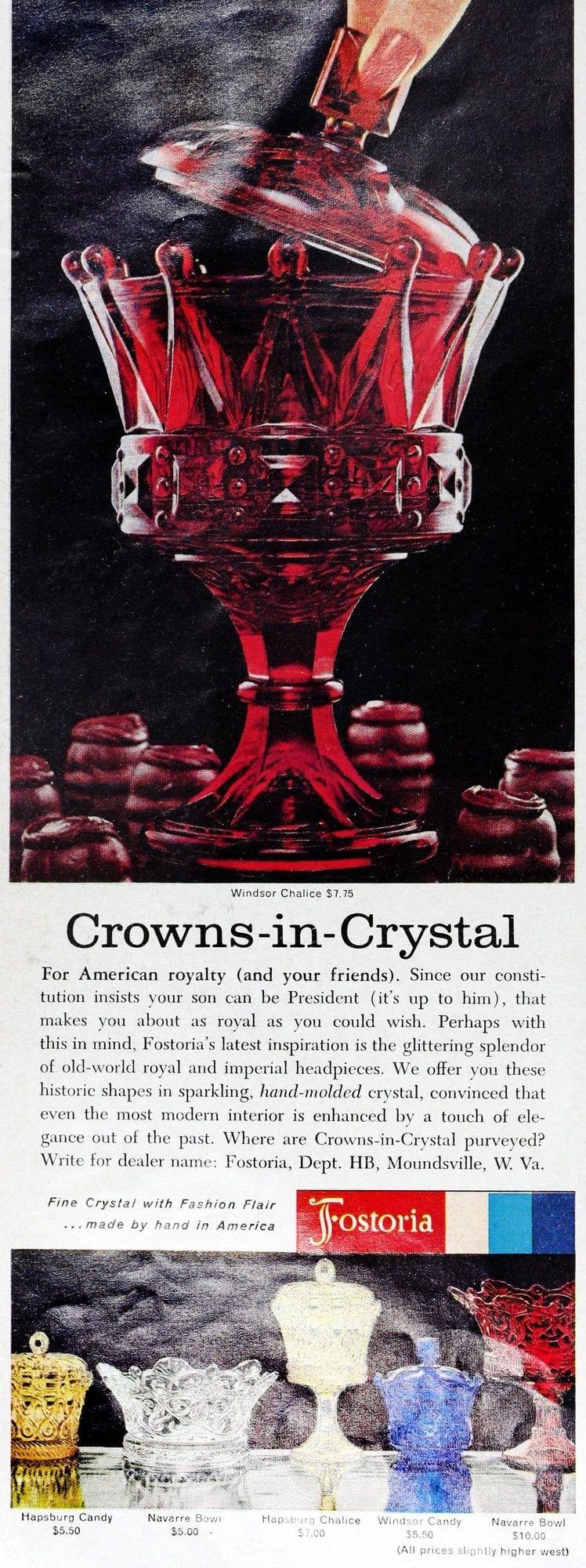 Colorful Crowns in Crystal retro glassware from Fostoria (1962)