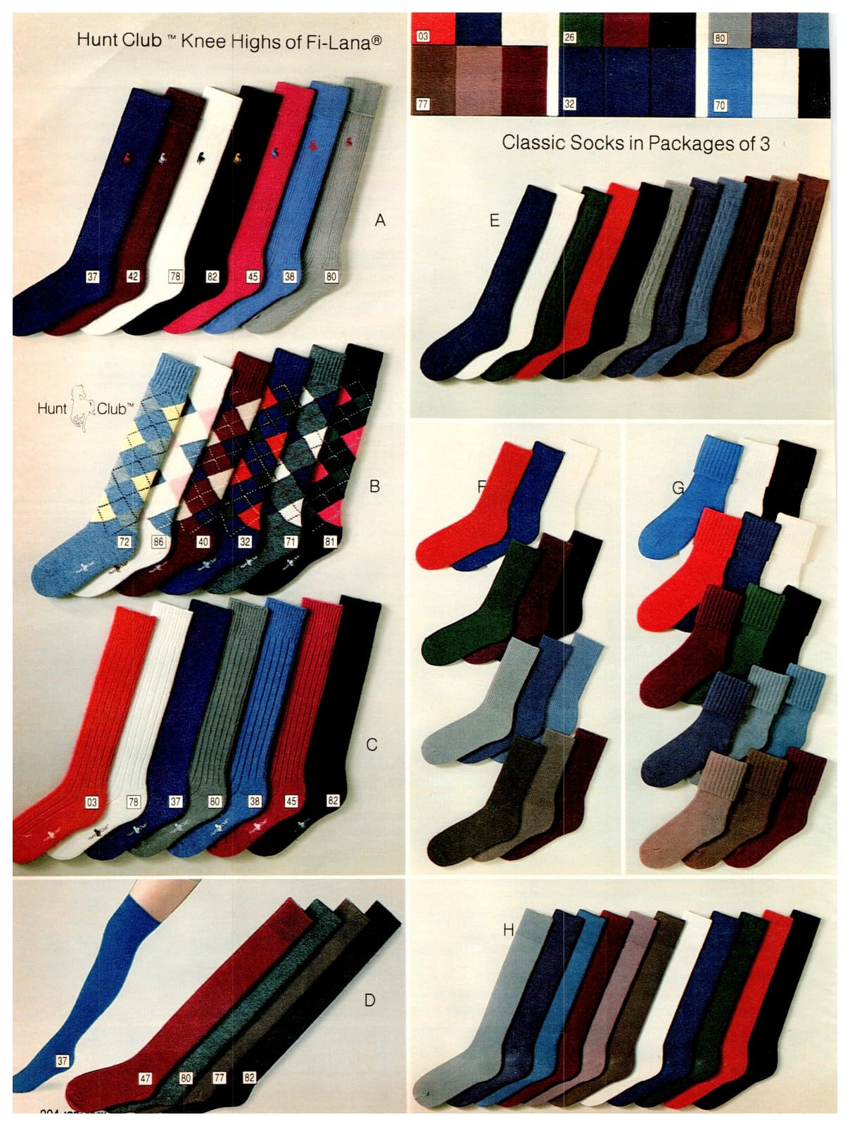 Colorful Hunt Club socks from 1983