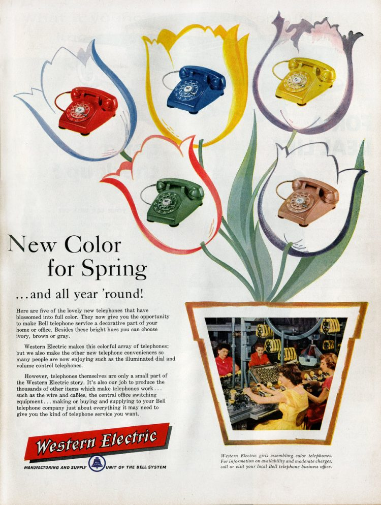 Colorful Western Electric dial phones in 1957