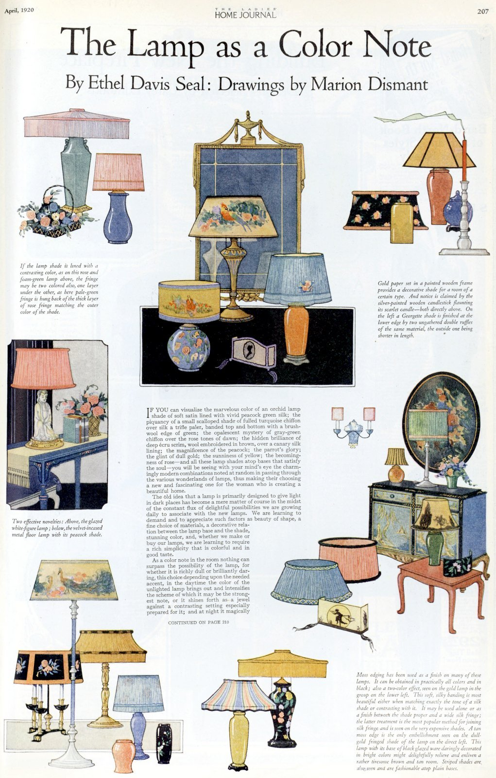 Colorful antique lamp styles for the home (1920)