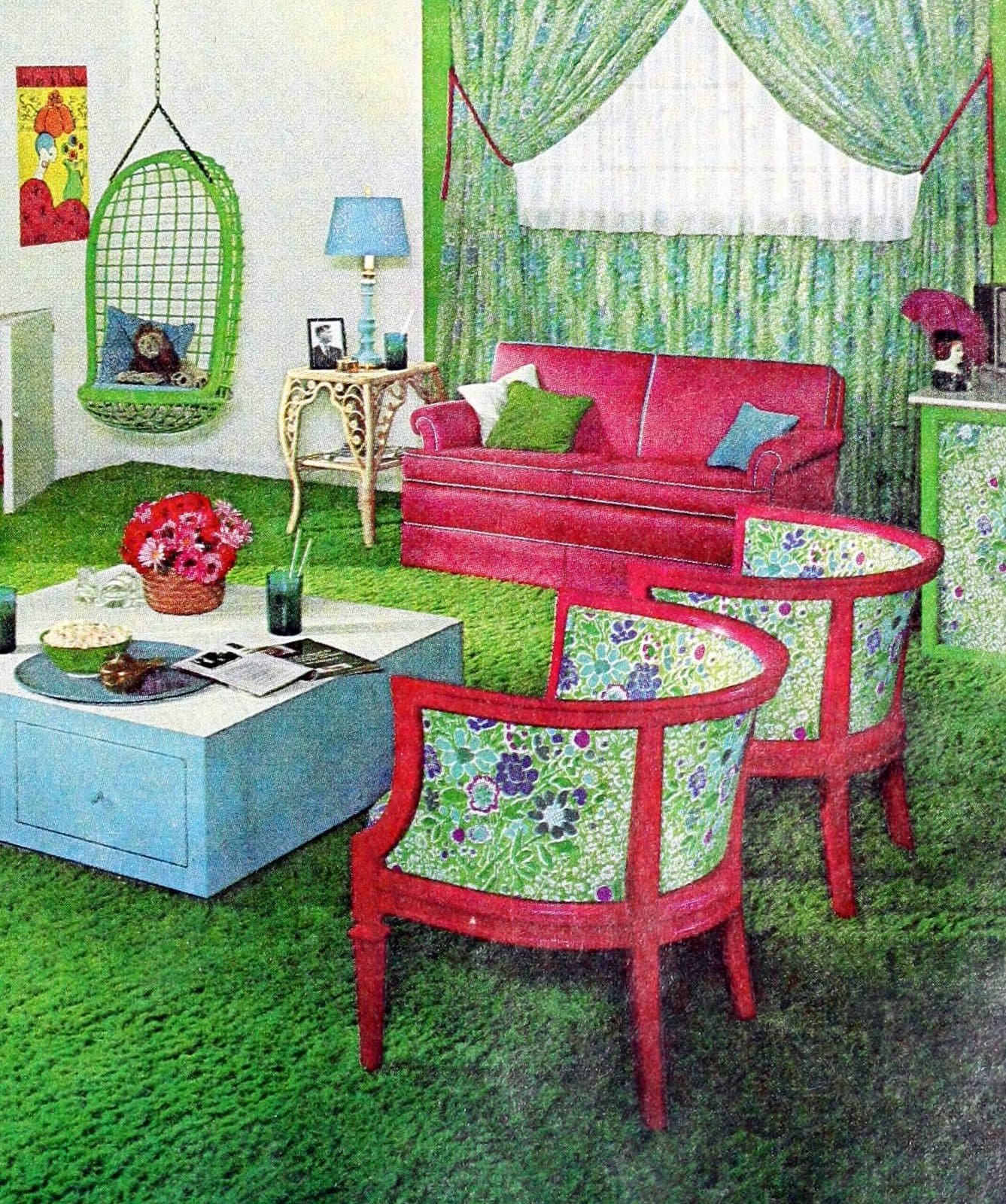 Colorful bedroom decor with curved chairs and a swinging chair (1967)