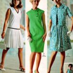 Groovy dresses in green, blue and white print and white with black edging