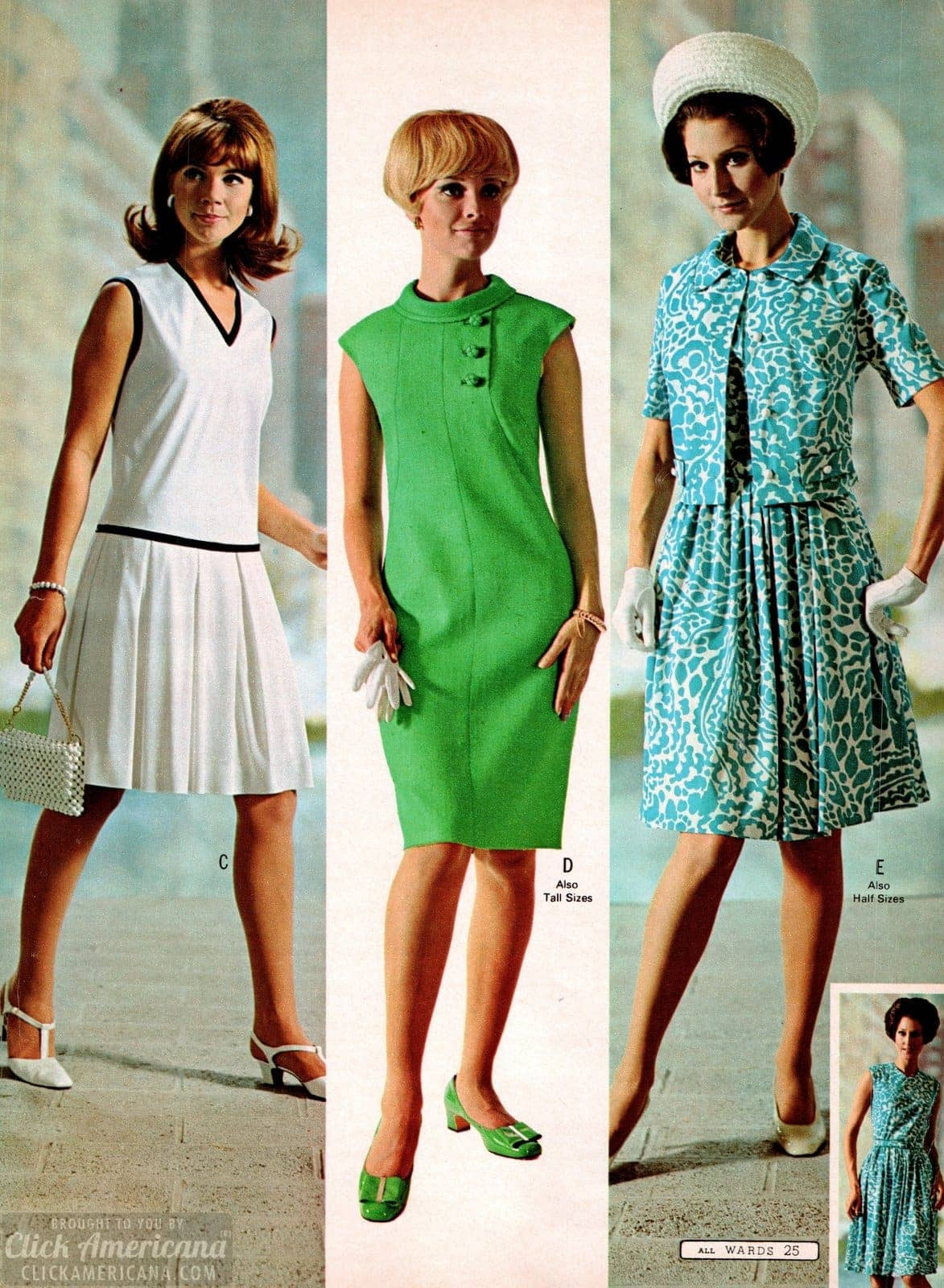 Groovy dresses in green, blue and white print or white with black edging