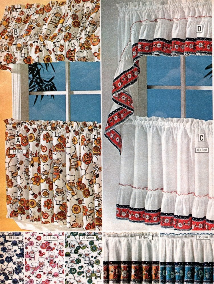 See 100 Short Retro Window Curtains Cafe Curtains That Were Essential 70s Home Decor Click Americana