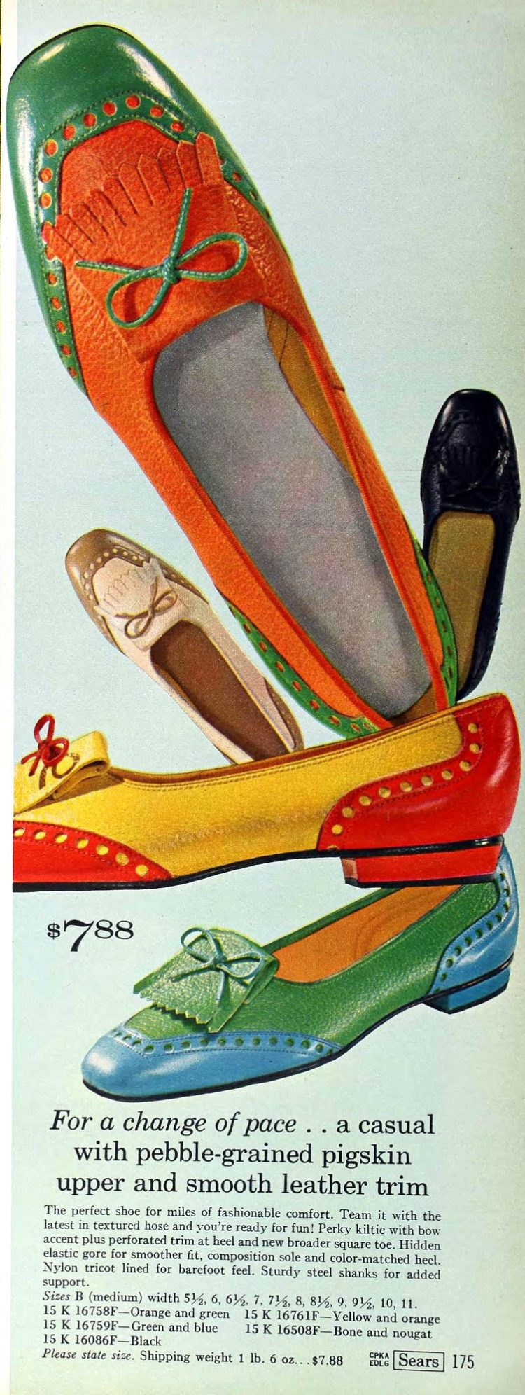 Colorful flats for women - Shoes from the sixties