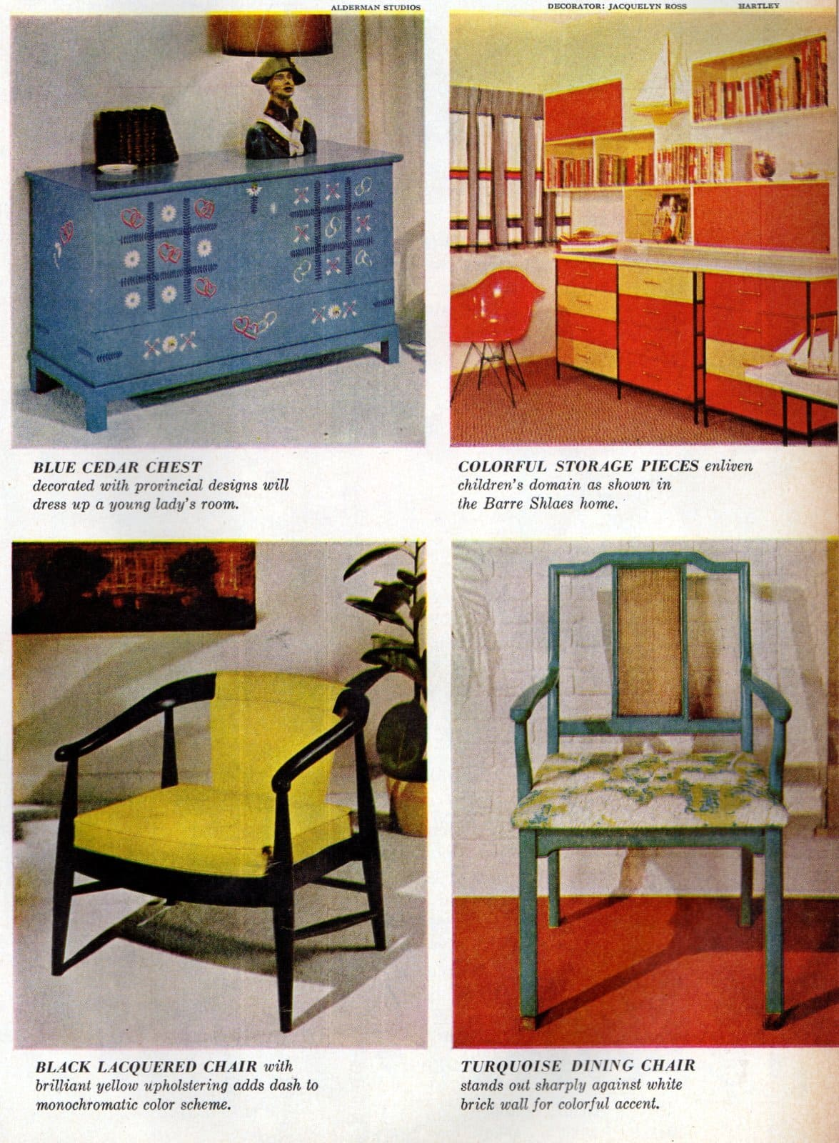 Colorful furniture as vintage home accents