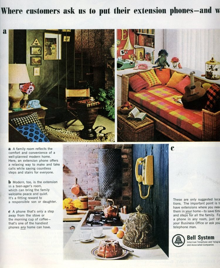 Colorful home decor extension phones from 1965