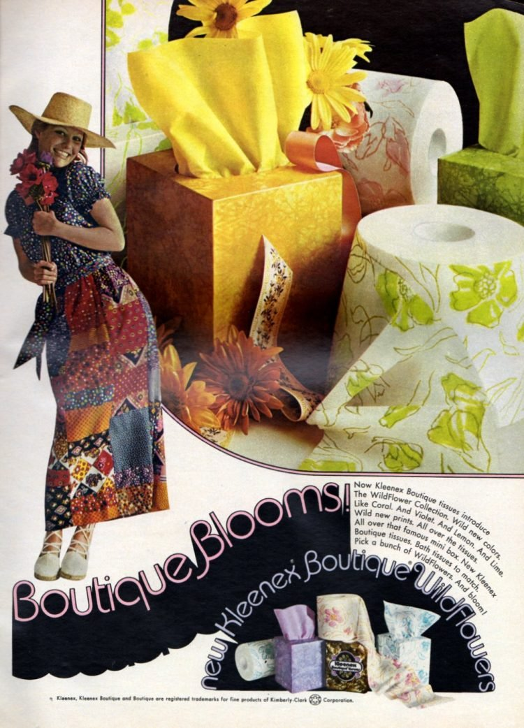 Colorful old patterned toilet paper from Kleenex - Boutique Blooms 1972
