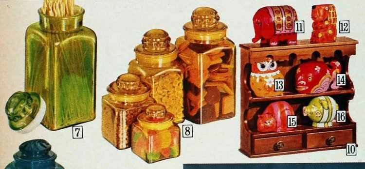 Colorful retro kitchen glass jars and salt and pepper shakers