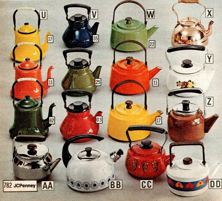 Colorful retro kitchen teapots from the 70s