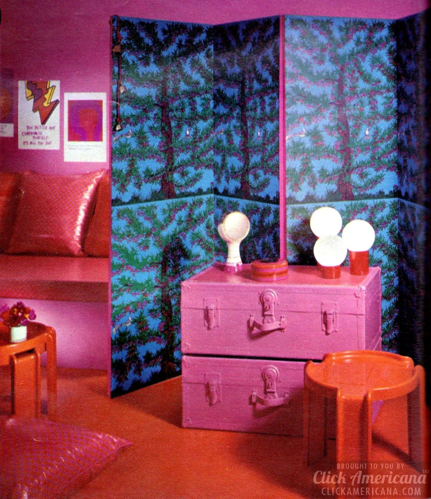 Colorful screen decor for teen bedroom from 1971
