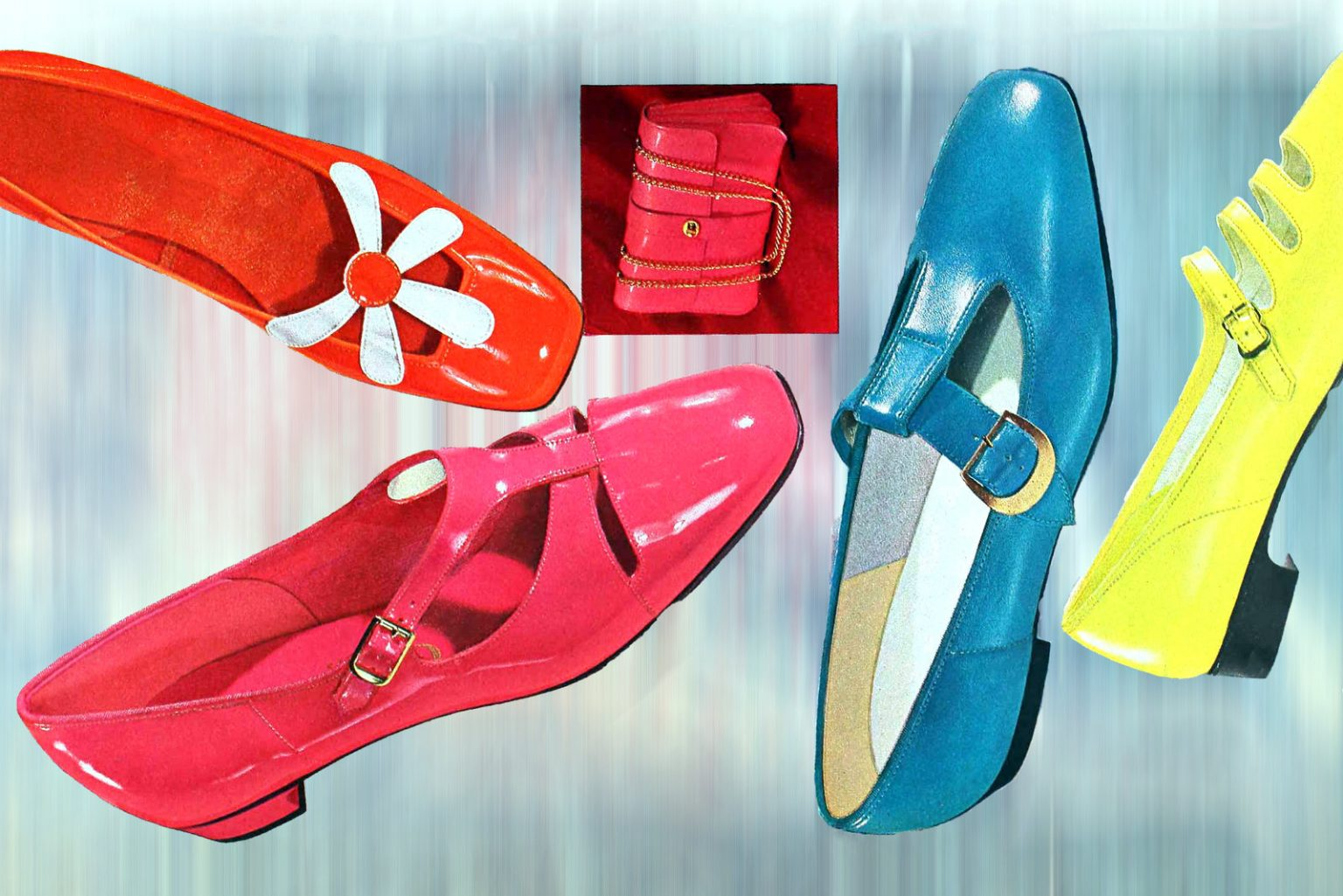 Colorful vintage 60s flat dress shoes
