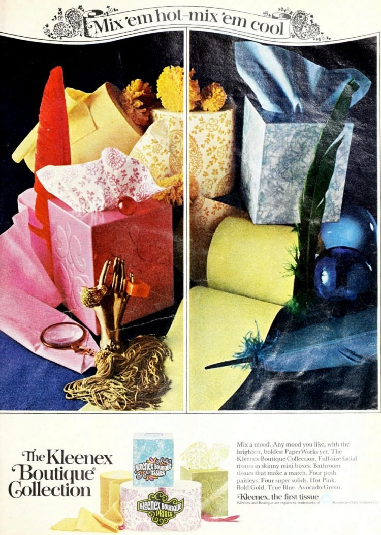 Colorful vintage Kleenex Boutique Collection toilet paper and tissue from 1971