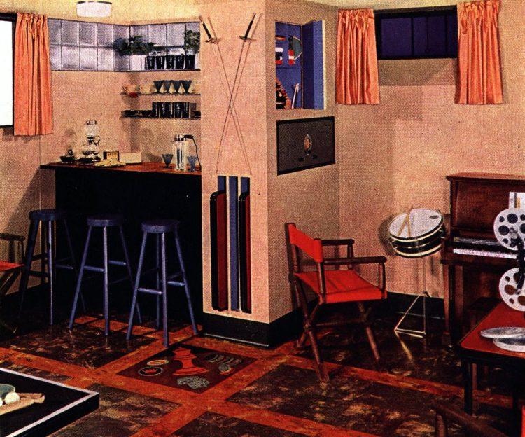 Colorful vintage basement remodels 1940s 1950s (11)