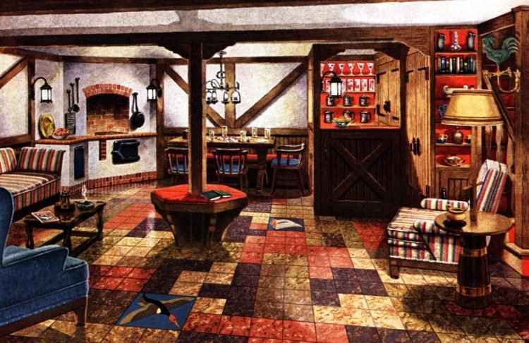 Vintage Basement Decor From The 40s 50s See 25 Creative Remodels Click Americana