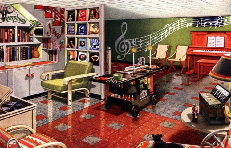 Vintage music room with records and murals