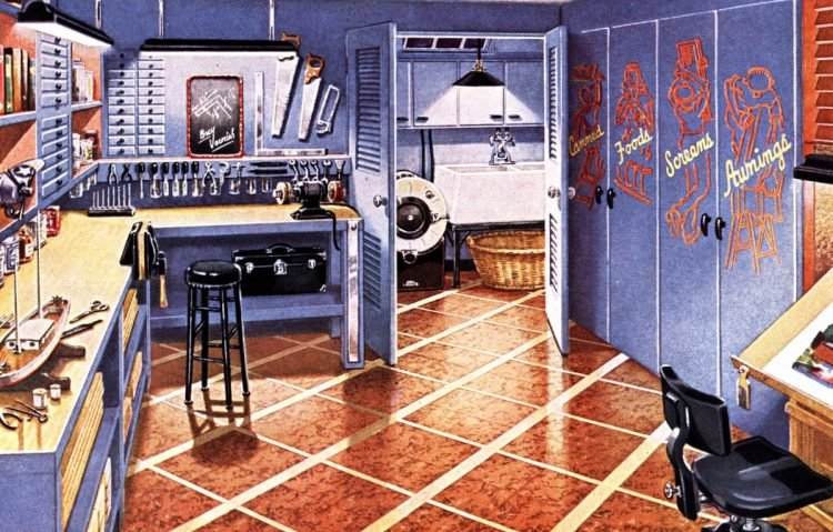 Vintage basement remodels for a hobby room and workshop with tools in basement