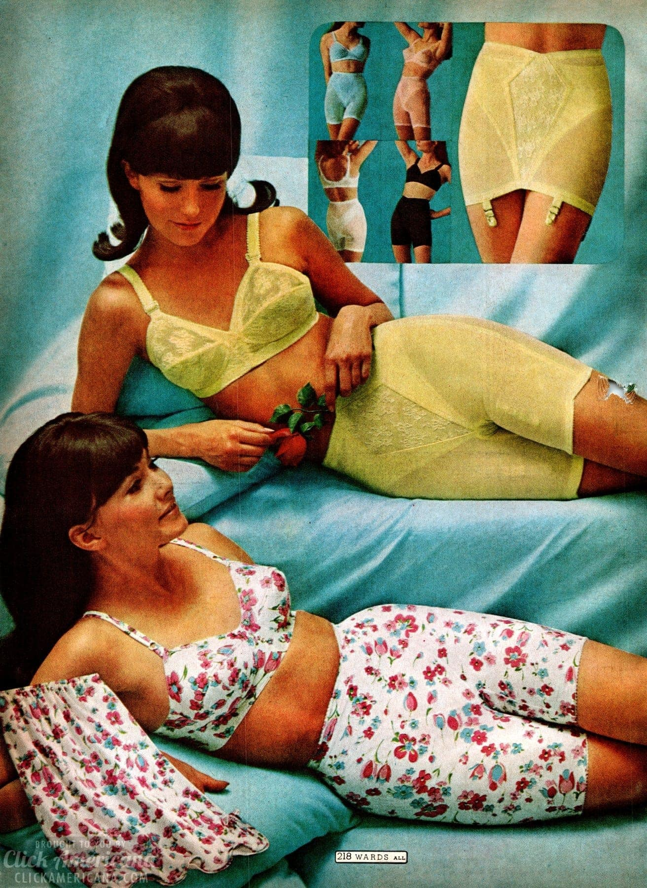 Colorful vintage girdle and bra sets from the 60s