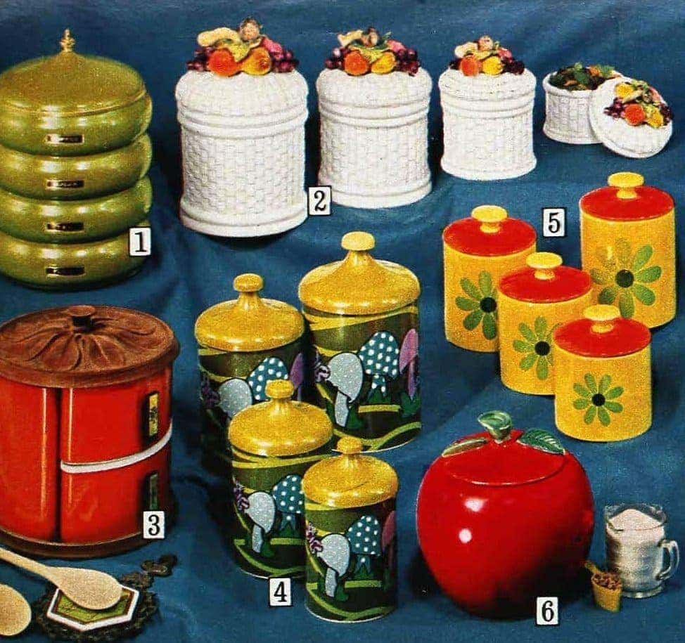 Colorful vintage kitchen canisters from the seventies