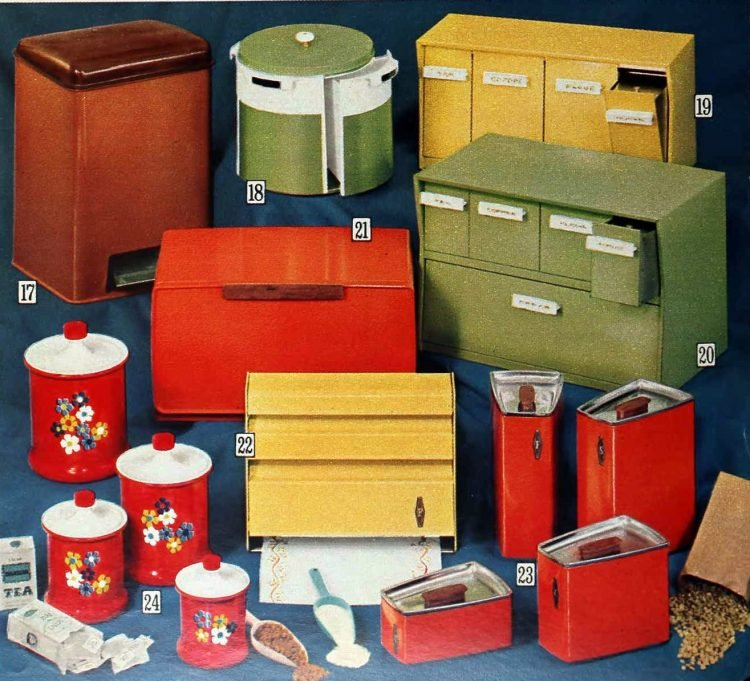Colorful vintage kitchen storage and breadboxes from the 70s